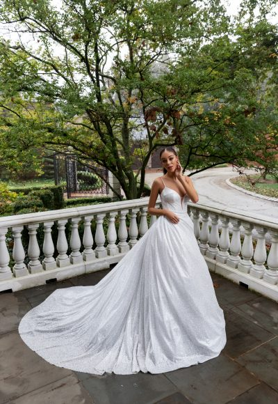 Spaghetti Strap Glitter Ball Gown Wedding Dress by Pnina Tornai