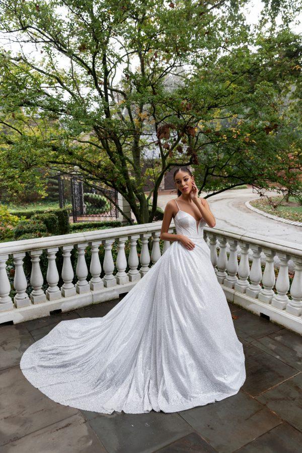 Spaghetti Strap Glitter Ball Gown Wedding Dress by Pnina Tornai - Image 1