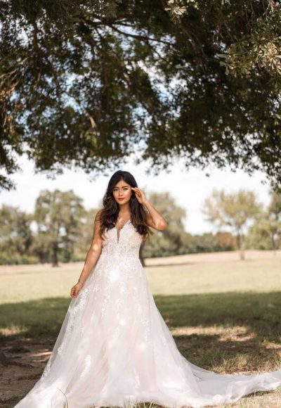 Boho Style Wedding Dress With Sheer Details by Stella York