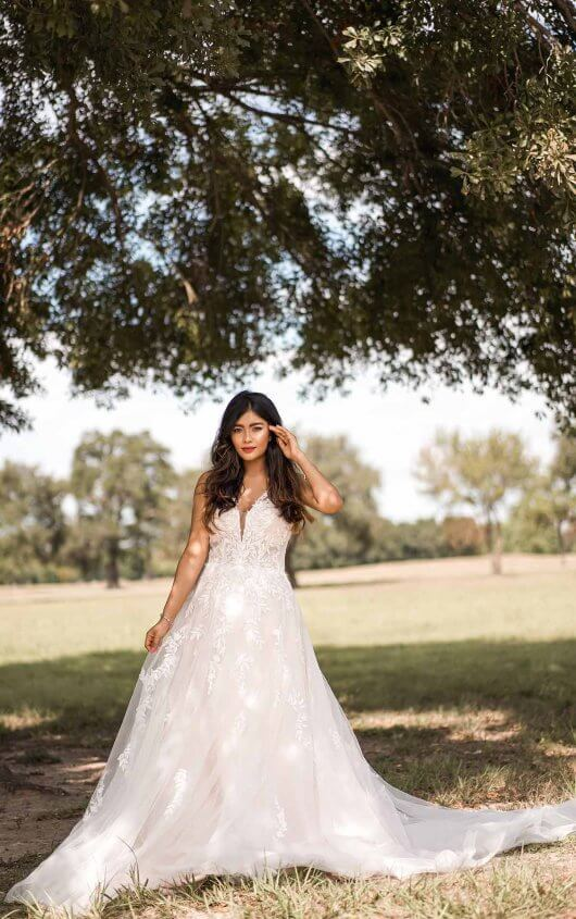 Boho Style Wedding Dress With Sheer Details by Stella York - Image 1
