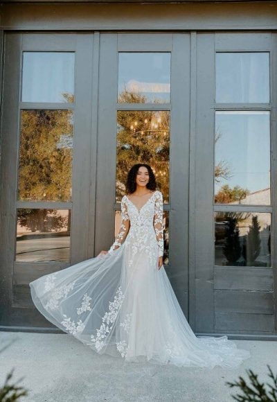 Long Sleeve Wedding Dress With Statement Back by Stella York