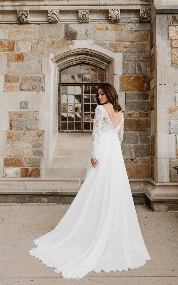 Modern Mixed-fabric Wedding Dress With Lace And Long Sleeves by Stella York - Image 2