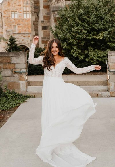 Modern Mixed-fabric Wedding Dress With Lace And Long Sleeves by Stella York