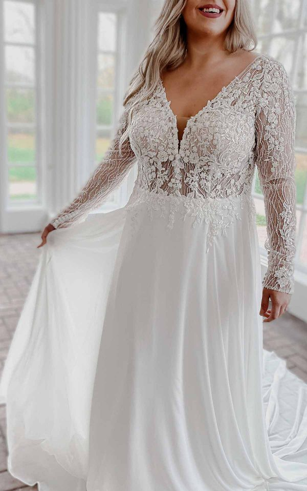 Modern Mixed-fabric Wedding Dress With Lace And Long Sleeves by Stella York - Image 1
