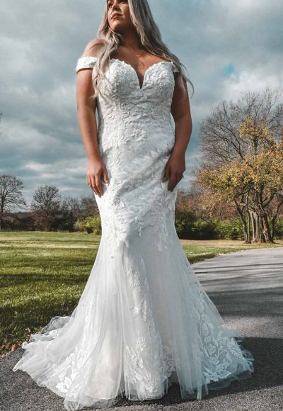 Off-Shoulder Wedding Dress With Shimmer by Stella York