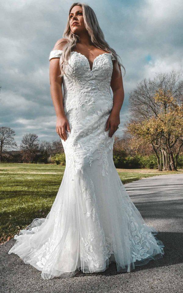 Off-Shoulder Wedding Dress With Shimmer by Stella York - Image 1