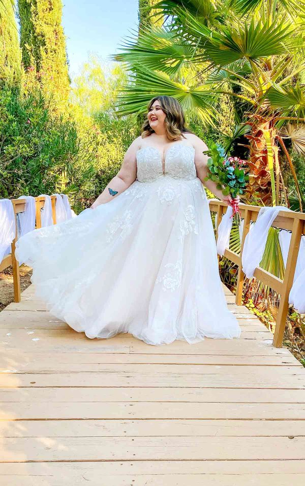 Romantic Strapless Plus Size Wedding Dress With Sparkle by Stella York - Image 2