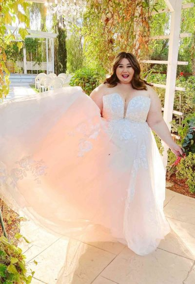 Romantic Strapless Plus Size Wedding Dress With Sparkle by Stella York