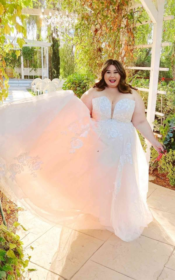 Romantic Strapless Plus Size Wedding Dress With Sparkle by Stella York - Image 1