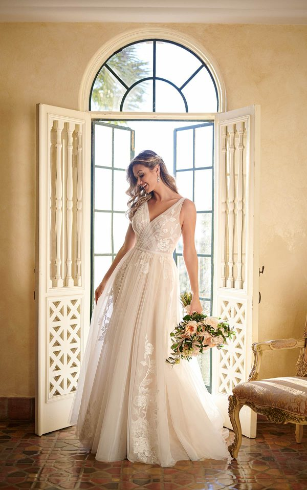 Sheer Tulle And Lace Wedding Gown by Stella York - Image 1