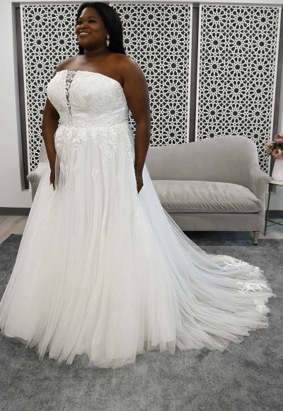 Strapless A-line Plus Size Wedding Dress With Illusion Plunge by Stella York