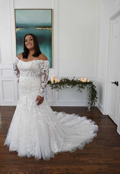 Off The Shoulder Mermaid Wedding Dress With Lace Sleeves by Essense of Australia