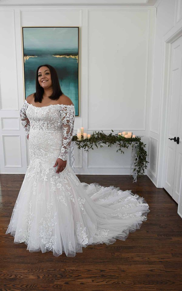Off The Shoulder Mermaid Wedding Dress With Lace Sleeves by Essense of Australia - Image 1