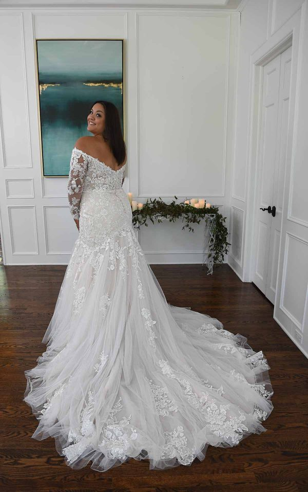 Off The Shoulder Mermaid Wedding Dress With Lace Sleeves by Essense of Australia - Image 2