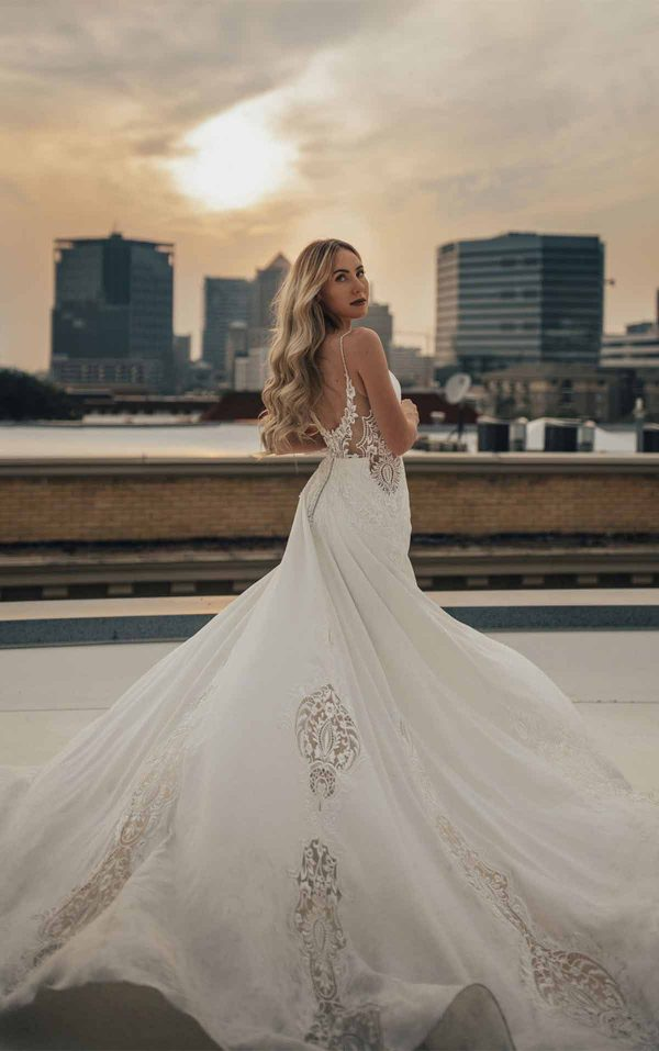 Embroidered Boho Wedding Dress With Textured Lace And Plunging Sweetheart Neckline by All Who Wander - Image 2
