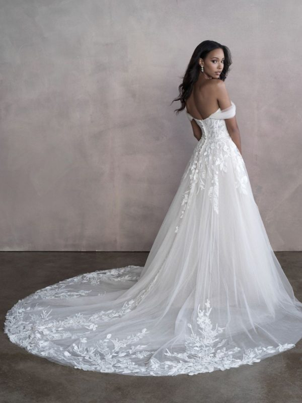 Off The Shoulder A-line Tulle Wedding Dress by Allure Bridals - Image 2