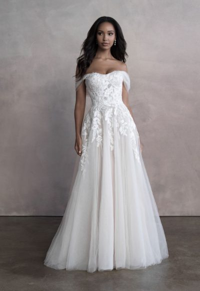 Off The Shoulder A-line Tulle Wedding Dress by Allure Bridals