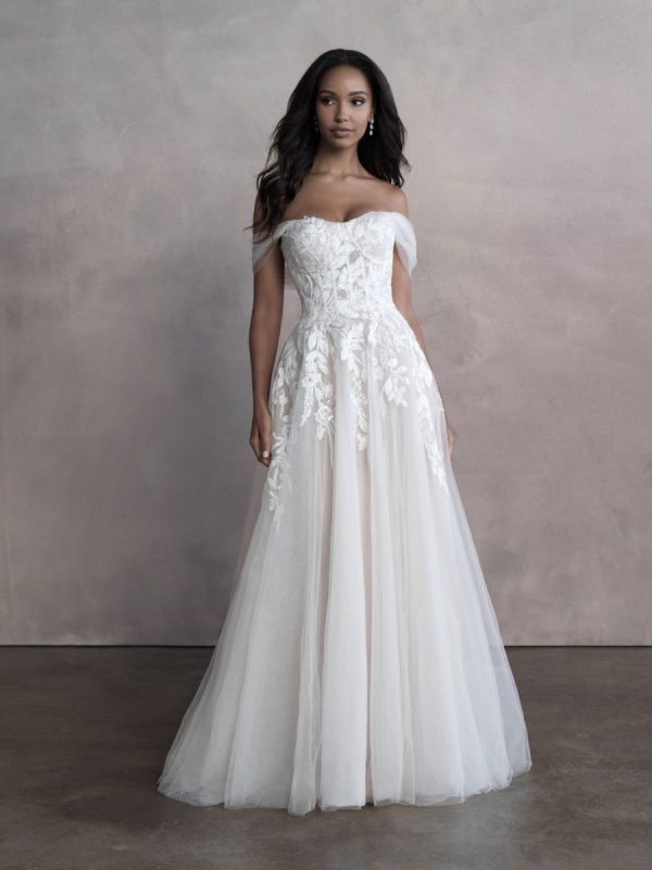 Off The Shoulder A-line Tulle Wedding Dress by Allure Bridals - Image 1