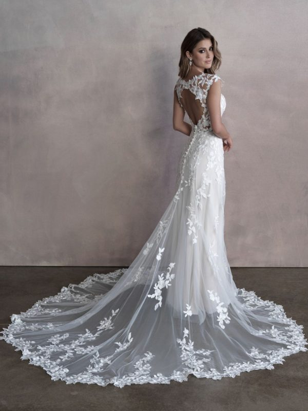 Sleevless Sheath Wedding Dress With Floral Details And Illusion Netting by Allure Bridals - Image 2
