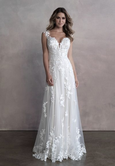 Sleevless Sheath Wedding Dress With Floral Details And Illusion Netting by Allure Bridals