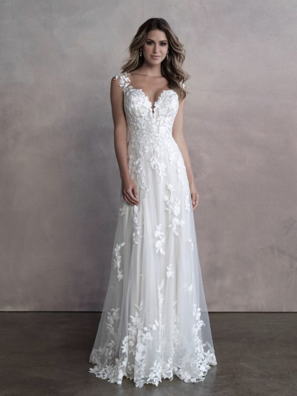 Sleevless Sheath Wedding Dress With Floral Details And Illusion Netting by Allure Bridals - Image 1