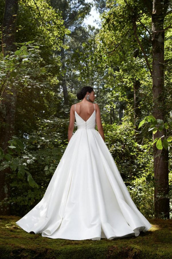 Spaghetti Strap Silk Chiffon Ball Gown Wedding Dress by Anne Barge - Image 2