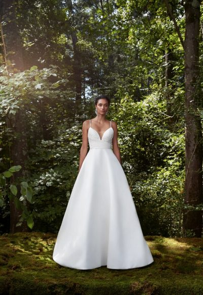 Spaghetti Strap Silk Chiffon Ball Gown Wedding Dress by Anne Barge