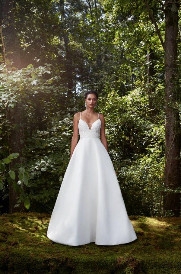Spaghetti Strap Silk Chiffon Ball Gown Wedding Dress by Anne Barge - Image 1