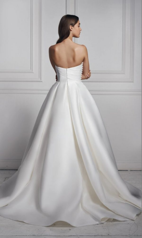 Strapless Sweetheart Neckline Draped Ball Gown Mikado Wedding Dress by Anne Barge - Image 2