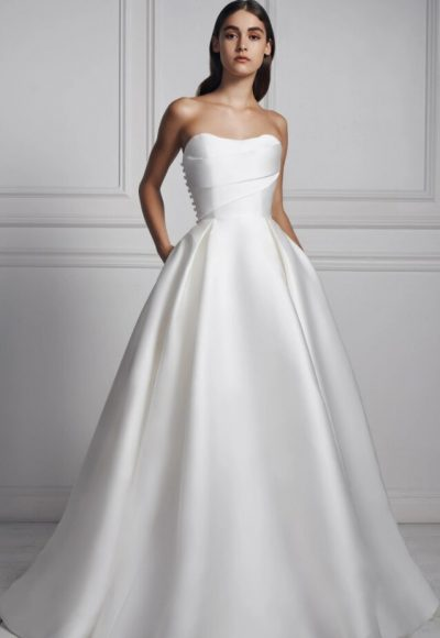 Strapless Sweetheart Neckline Draped Ball Gown Mikado Wedding Dress by Anne Barge