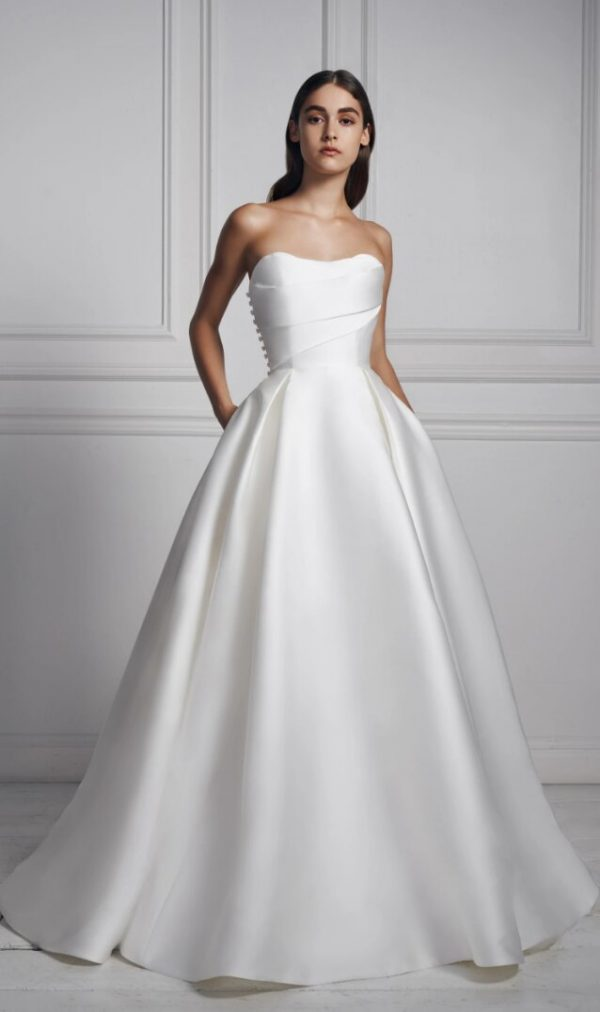 Strapless Sweetheart Neckline Draped Ball Gown Mikado Wedding Dress by Anne Barge - Image 1