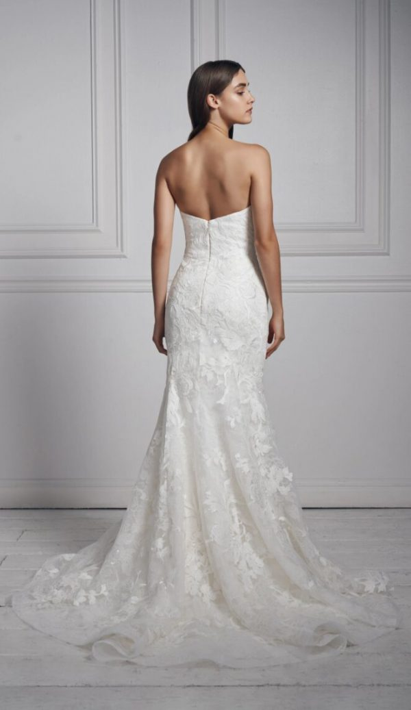 Strapless Sweetheart Neckline Lace Fit And Flare Wedding Dress by Anne Barge - Image 2