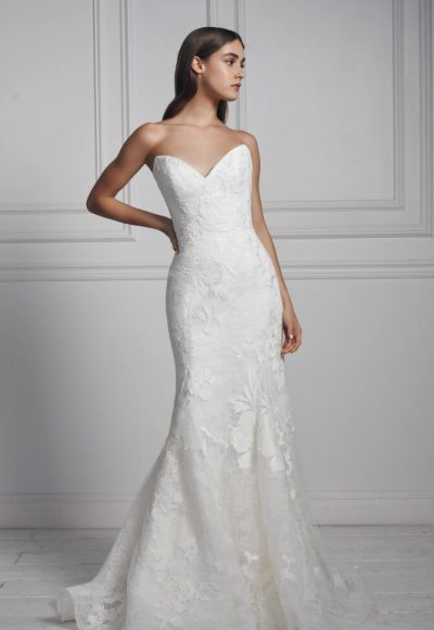 Strapless Sweetheart Neckline Lace Fit And Flare Wedding Dress by Anne Barge