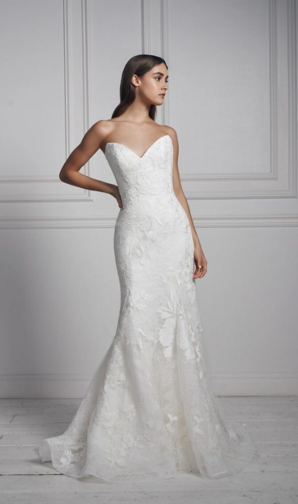 Strapless Sweetheart Neckline Lace Fit And Flare Wedding Dress by Anne Barge - Image 1