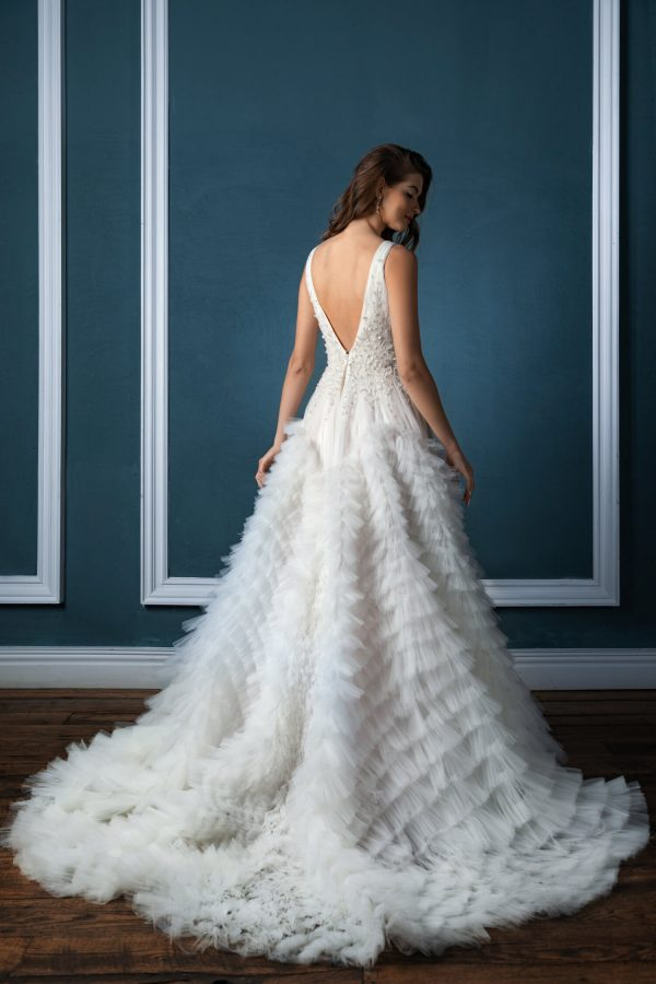 Sleeveless V-neck With Beaded Bodice And Pleated Ruffled Tulle Skirt Ball Gown Wedding Dress by Enaura Bridal - Image 2
