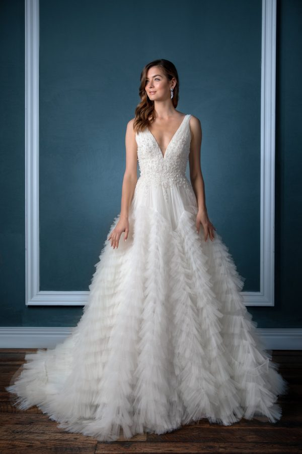 Sleeveless V-neck With Beaded Bodice And Pleated Ruffled Tulle Skirt Ball Gown Wedding Dress by Enaura Bridal - Image 1