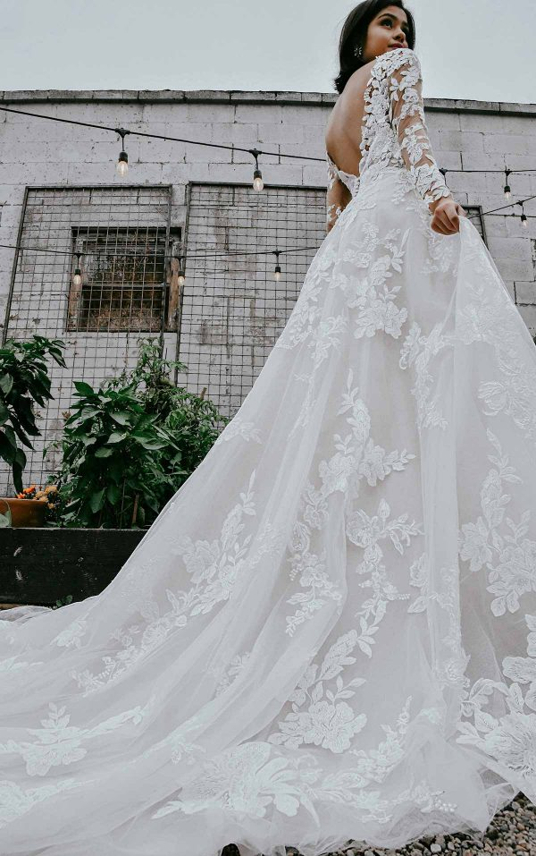 Lace A-line Wedding Dress With Long Sleeves by Essense of Australia - Image 2