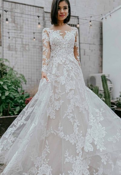 Lace A-line Wedding Dress With Long Sleeves by Essense of Australia