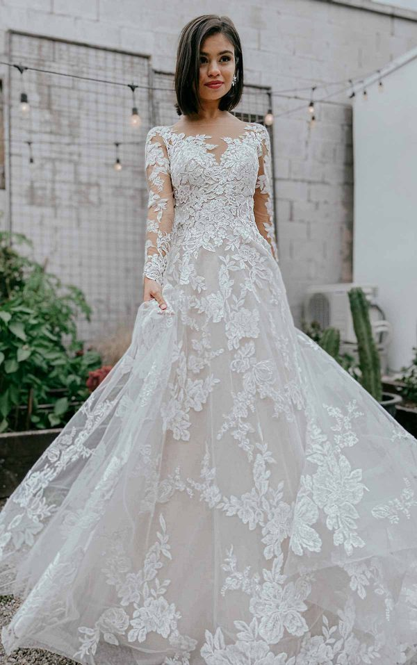 Lace A-line Wedding Dress With Long Sleeves by Essense of Australia - Image 1