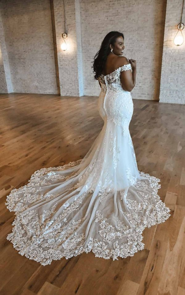 Romantic Off-shoulder Plus Size Wedding Dress With Scalloped Train by Essense of Australia - Image 2