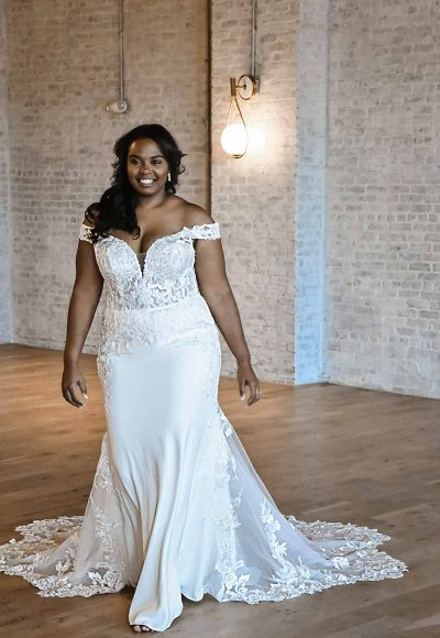 Romantic Off-shoulder Plus Size Wedding Dress With Scalloped Train by Essense of Australia