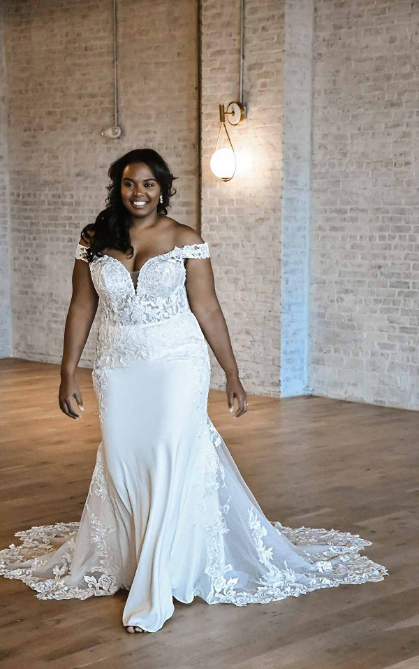 Romantic Off-shoulder Plus Size Wedding Dress With Scalloped Train by Essense of Australia - Image 1