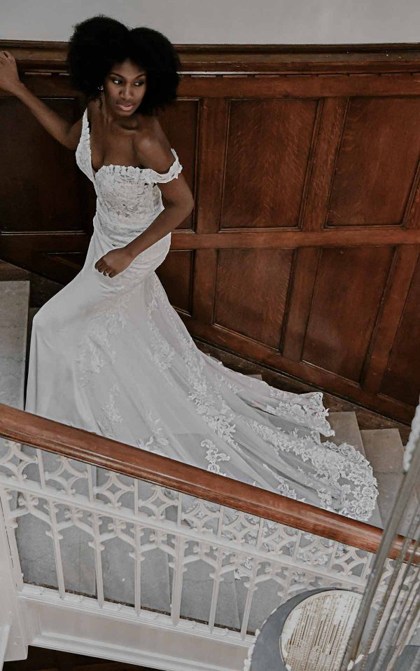 Romantic Off-shoulder Wedding Dress With Scalloped Train by Essense of Australia - Image 2