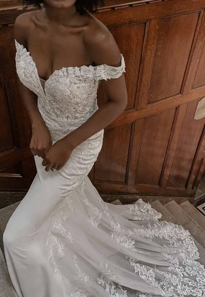 Romantic Off-shoulder Wedding Dress With Scalloped Train by Essense of Australia