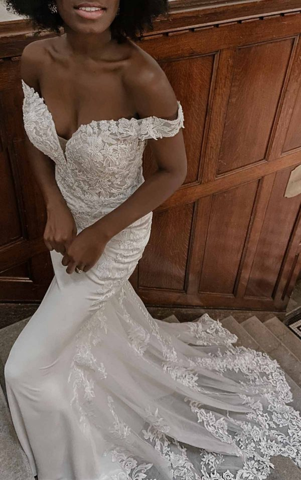 Romantic Off-shoulder Wedding Dress With Scalloped Train by Essense of Australia - Image 1