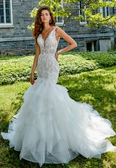 Sleeveless V-neck Hand Beaded Lace Fit And Flare Wedding Dress by Eve of Milady