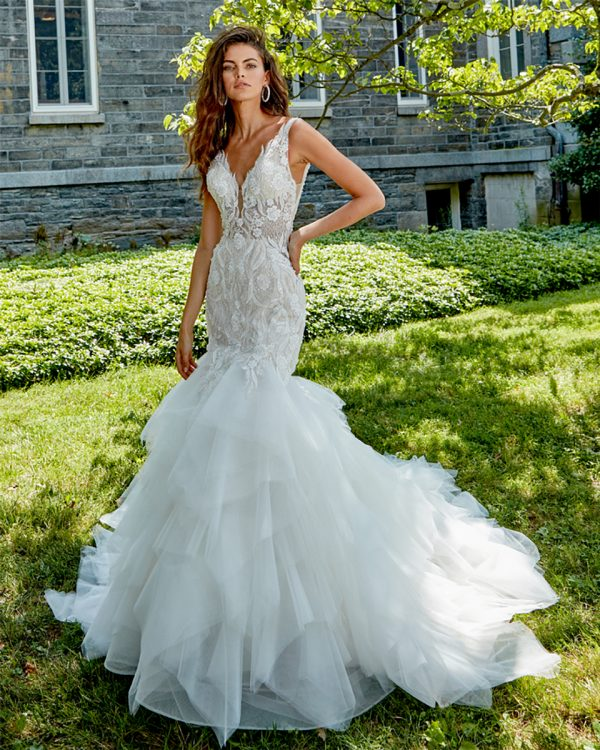 Sleeveless V-neck Hand Beaded Lace Fit And Flare Wedding Dress by Eve of Milady - Image 1