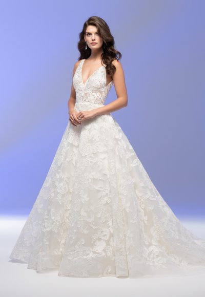 Sleeveless V-neck Lace A-line Wedding Dress by Lazaro