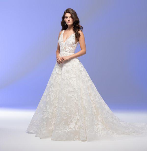 Sleeveless V-neck Lace A-line Wedding Dress by Lazaro - Image 1