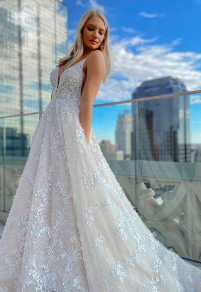 Backless Romantic A-line Wedding Dress With 3d Floral Detail by Martina Liana